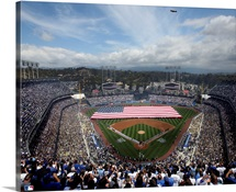 Dodger Stadium on opening day for the Los Angeles Dodgers MLB team.