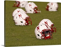 Husker Helmets at Memorial Stadium