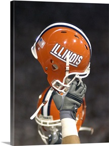 Illinois Football Helmet Held High