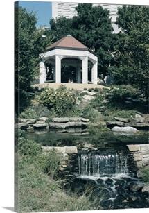 Indiana University Photographs Gazebo and Waterfall on Campus