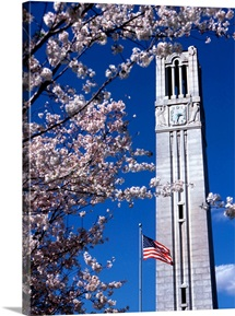 NC State University Photographs Bell Tower in Springtime