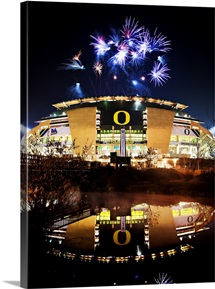 Oregon: Autzen Stadium With Fireworks
