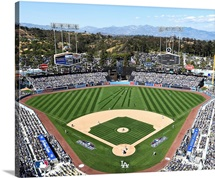 Overhead of Dodger Stadium during game for the Los Angeles Dodgers MLB team.