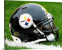 Pittsburgh Steelers Helmet sits on field in Pittsburgh, Nov. 17, 2013