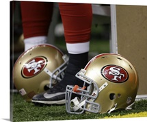 San Francisco 49ers Helmets on field of game against the Saints, 2013