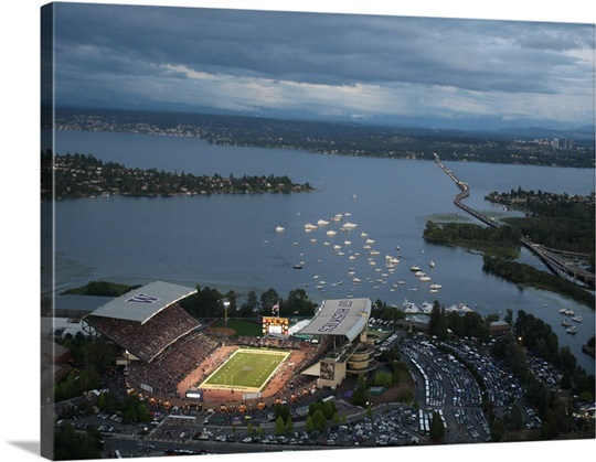Washington Huskies stadium at nightfall