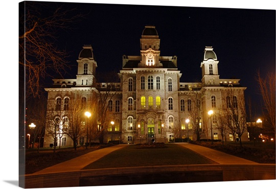 Syracuse Photographs Hall of Languages Lit Up