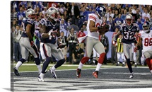 Victor Cruz (80) catches a touchdown pass during Super Bowl XLVI