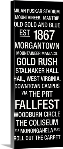 West Virginia: College Town Wall Art