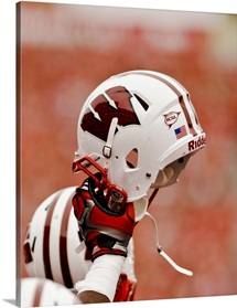 Wisconsin Badgers Helmet in the Air