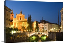 Church of the Annunciation and The Triple Bridge over River Ljubljanica, Slovenia