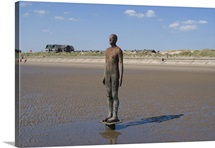One of the 100 men of Another Place, Crosby Beach, Merseyside, England