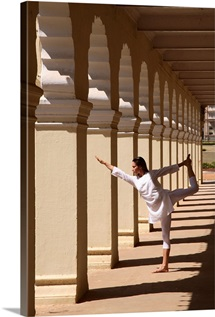 Yoga inside the courtyard of Mysore Palace, Karnataka, India, Asia