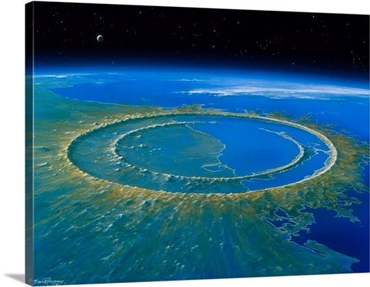 Artwork showing Chicxulub impact crater, Yucatan