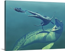 Cretaceous marine predators, artwork