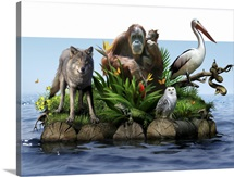 Endangered animals, conceptual image