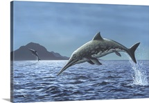 Ichthyosaurs leaping in the air, artwork