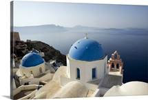 Blue domed churches in Santorini, Greece