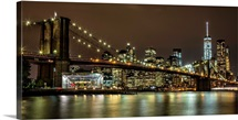 Brooklyn Bridge and New York City Skyline at Night