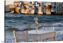 Cafe at Sunset in Little Venice, Mykonos, Greece