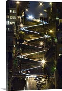 Car trails on Lombard Street at night, San Francisco, California