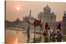 Family washing in the Yamuna River, behind the Taj Mahal, India