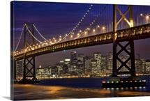 Illuminated Bay Bridge, San Francisco, California