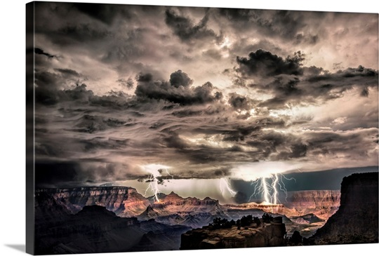 Lightning storm at night over the Grand Canyon