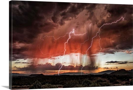 Lightning Storm Over Sedona Arizona Photo Canvas Print