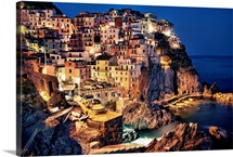 Manerola after dark, Cinque Terre, Italy