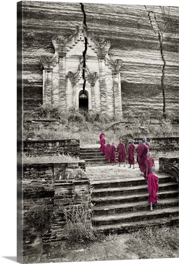 Monk boys walking up to Mingun Temple in Mandalay, Burma
