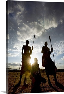 Samburu tribe at sunset, Kenya, Africa