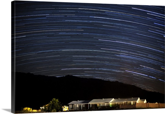 Star trails at night, Death Valley, California