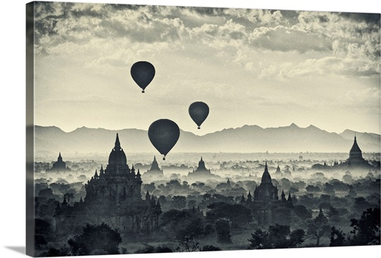 Sunrise with Balloons over the temples of Bagan, Burma