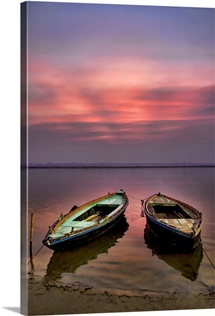 Sunrise with Boats, on the Ganges River, Varanasi, India