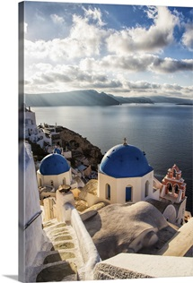 The blue churches of Oia Santorini, Greece