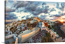 View of Oia, Santorini at sunset