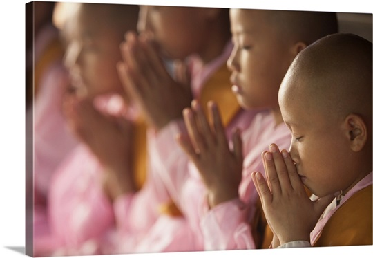 Young nuns praying together in their monastery in Burma