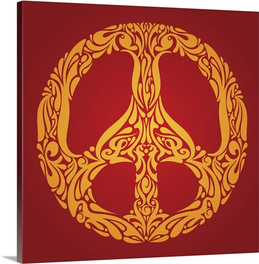 Ornate Swoops and Swirls that Make a Peace Sign Symbol