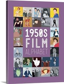 1950's Film Alphabet, Minimalist Art Poster