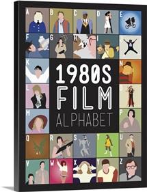 1980's Film Alphabet, Minimalist Art Poster