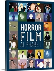 Horror Film Alphabet, Minimalist Art Poster
