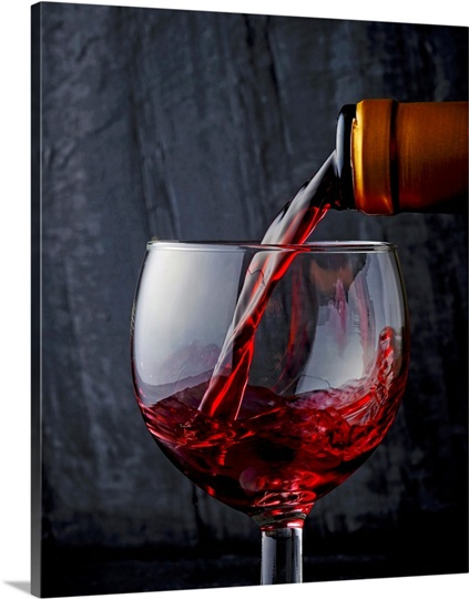 Pouring red wine into a glass Photo Canvas Print | Great ...