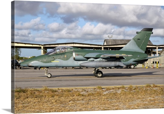 A Brazilian Air Force Embraer A-1A aircraft at Natal Air Force Base, Brazil