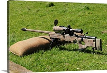 A British Army Arctic Warfare Magnum L115A3 sniper rifle