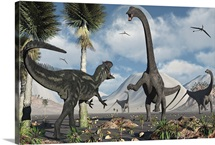 A carnivorous Allosaurus confronts a giant Diplodocus herbivore
