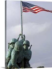 A close up of the Iwo Jima bronze statue showing detail of the sculpture
