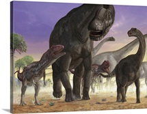 A couple of predator Mapusaurus try to isolate a herd of sauropods