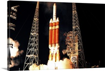 A Delta IV Heavy rocket lifts off