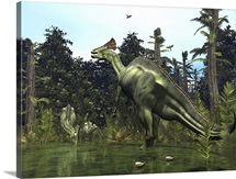 A Lambeosaurus rears onto its hind legs in response to a threat